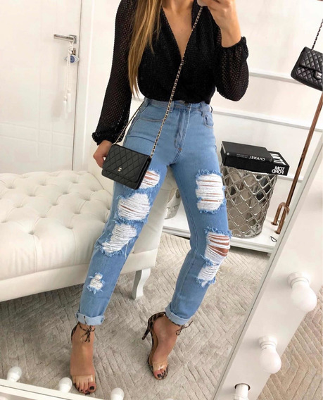 Calça Mom Jeans Destroyed Feminina