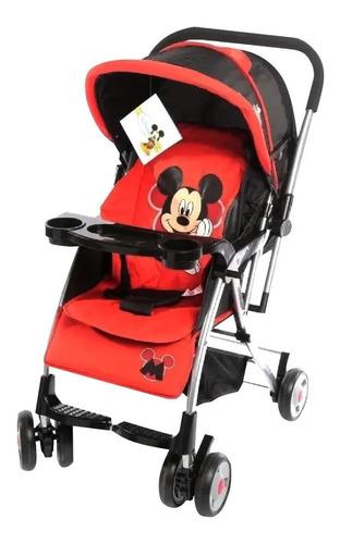 Cochecito de bebé Dencar Coche Cuna 3133 de paseo rojo con chasis plateado