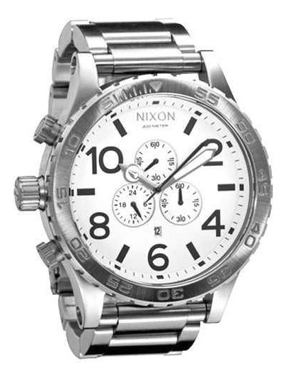 Relógio Yt05 Nixon 51-30 Branco Chrono Linha Prata Oferta