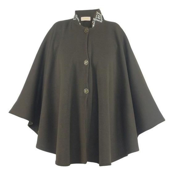 Capa Guria Blusa Ponche Kimono Feminino Casaco Marrom Trico