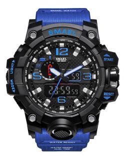 Reloj Deportivo Smael P/hombre Impermeable Cuarzo Azul Ø