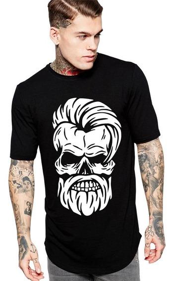Camiseta Long Line Oversized Masc Caveira Estilo Barbeiro