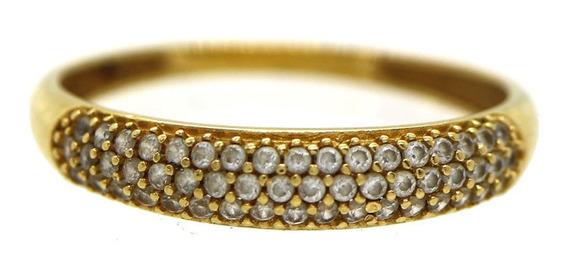 Anel Meia Aliança Fileira Cravejada Pedras Ouro 18k J22212