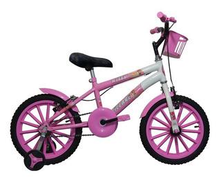 Bicicleta Aro 16 Infantil Feminina Branco C/ Rosa