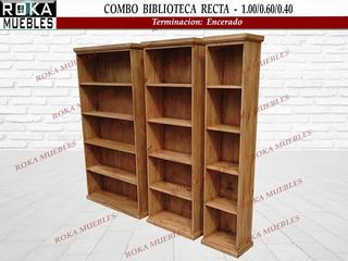 Combo Bibliotecas Rectas Librero Encerado Roka