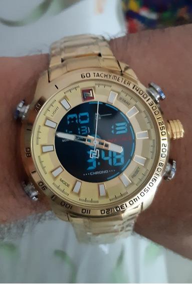 Relógio Naviforce Dourado 9093 Novo