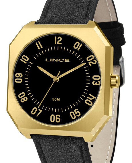 Relógio Lince Masculino Couro Dourado - Mqc4499s P2px