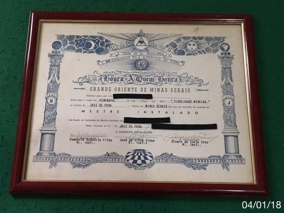 * Diploma Da Maçonaria - 42cm X 34cm - Para Colecionador *