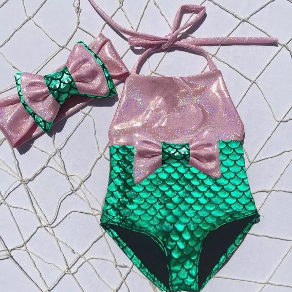 Traje De Baño Niña Bebe Sirena Dorado Solo Talla 6 Meses