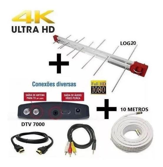 Antena Digital 4k + Conversor Digital Dtv Aqua E Cabo 10 Mts