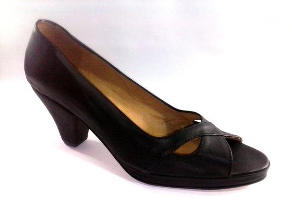 Sam123 Zapatos Taco Fiesta Top Cuero Oferta 6544 Negro