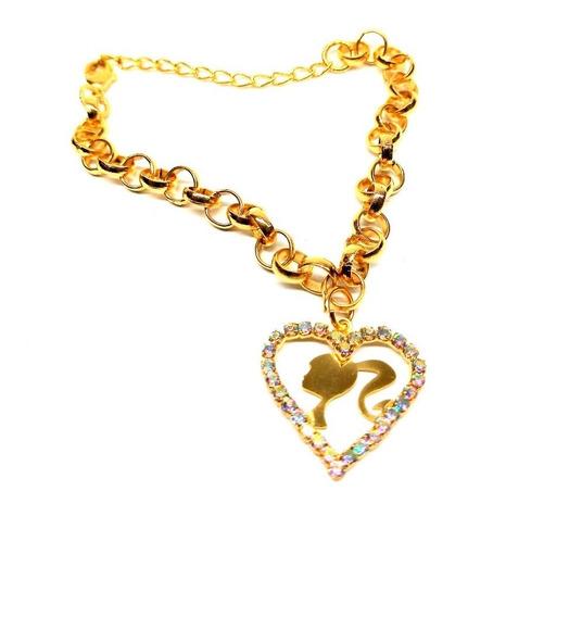 Pulseira Folheada Ouro 18 Cm Pingente Coração Com Pedras