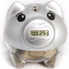 Cofre Porco Porquinho Digital Pig Bank Conta Moeda Prata
