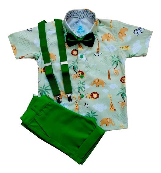 Conjunto Roupas De Bebe Menino Camisa Social Infantil Safari Verde Com Gravata Infantil E Suspensorio