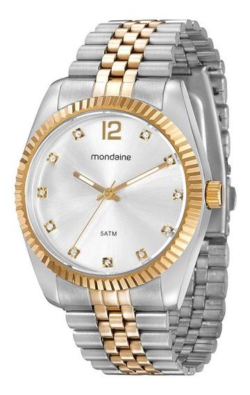 Relógio Original Mondaine Feminino Prata E Dourado Cristais