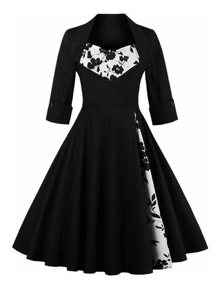 Vestido Vintage Pin Up, Negro Años 50, Va 269