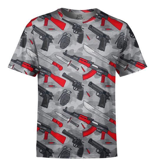 Camiseta Masculina Armas Estampa Digital
