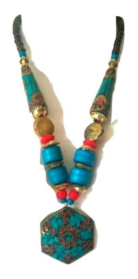 Max Collar Indiano Turquesa Maravilhosos Importados
