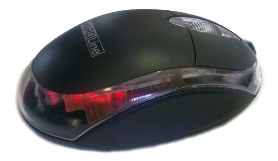 Mouse Optico Usb Preto Design Ergonômico - Kit Com 5un
