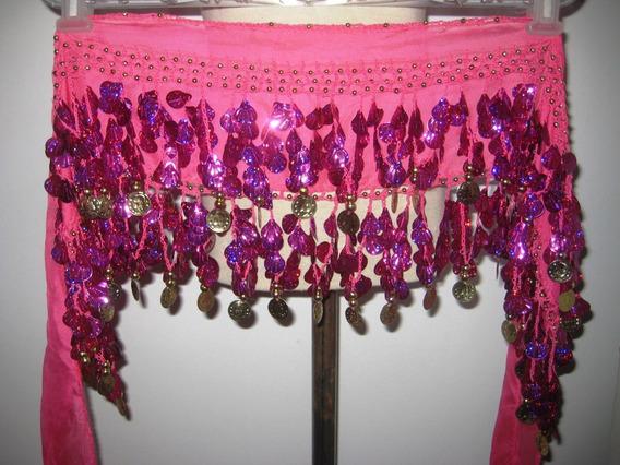 Caderín Danza Árabe Recto Gasa Crochet Ostras 2 Filas Moneda