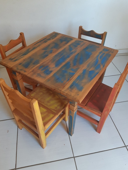 Mesa Infantil Com 4 Cadeiras (peroba Rosa)