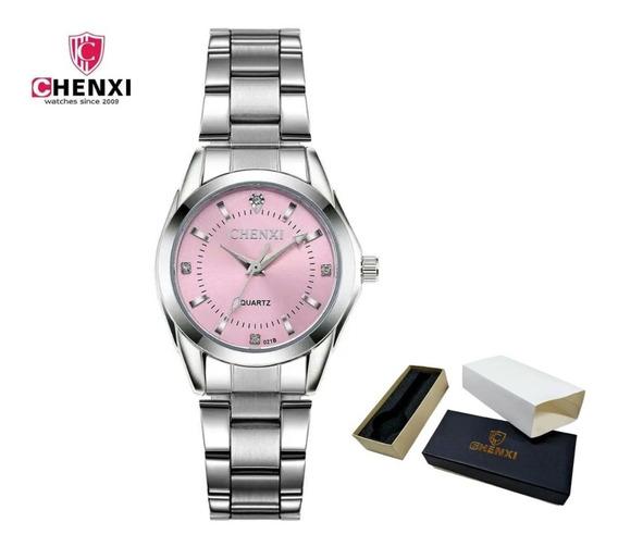 Relógio Feminino Aço Inoxidável Prata Delicado Original