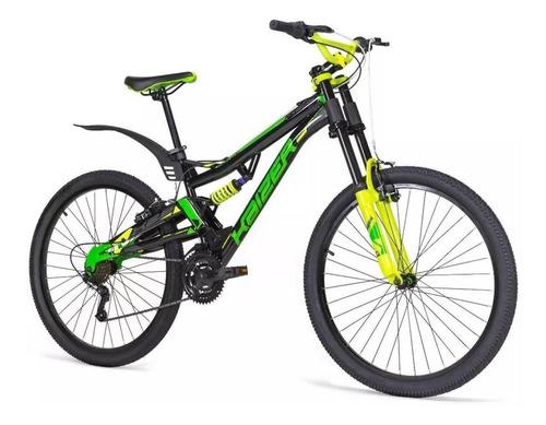 Imagen 1 de 1 de Mountain bike Mercurio Doble Suspensión Kaizer DH  2018 R24 21v frenos v-brakes color negro/verde