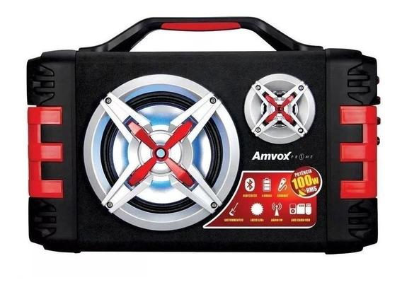 Caixa de som Amvox ACA 150 portátil sem fio Preto/Vermelho