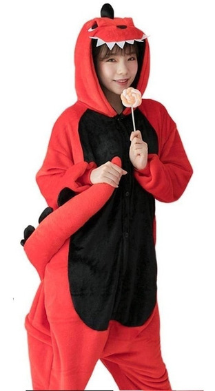Kigurumi Pijama Mameluco Disfraz Dinosaurio Rojo/rosa Adult
