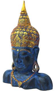 Buda Decorativo Em Madeira Máscara Decoração Bali - 75cm
