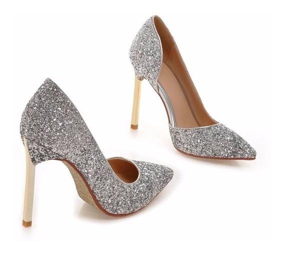 Sapato Scarpin Glitter Festa Casamento 4 Cores Tam 33/41