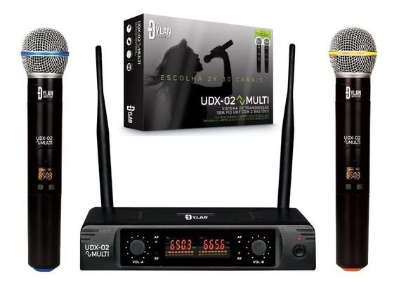 Microfone Digital Sem Fio Profissional Uhf Dylan Udx02duplo