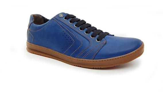 Sapatenis Freeway Easywear Crome 1 Azul Boz Couros