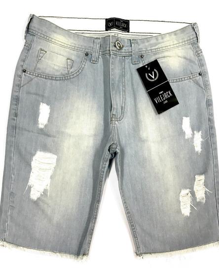 Bermuda Jeans Masculina Vilejack Clareada Rasgada Puída
