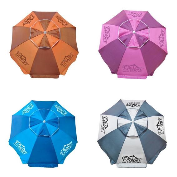Sombrilla Playa Parasol 1.9m Protección Uv Ecology 4 Colores