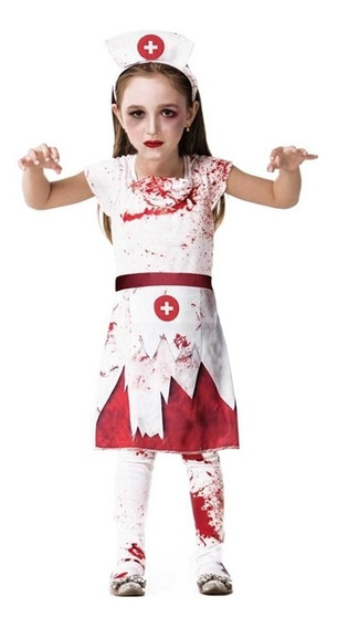 Roupa De Halloween Infantil Enfermeira Zumbi Envio 24 Horas