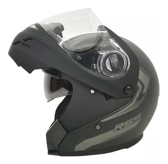 Casco Hawk Rs5 Vector Motos Negro Mate Rebatible Doble Visor