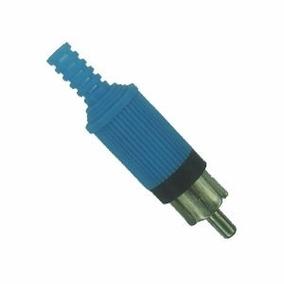 Plug Rca Macho * Plastico * Azul (lote Com 10 Peças)