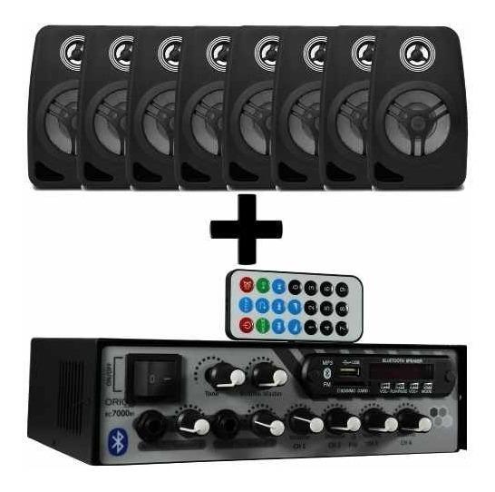 Kit Som Ambiente 500 Watts Bluetooth +8 Caixas Parede Pretas