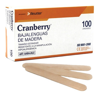 Bajalenguas Madera Desechable No Esteril Cranberry Caja X100