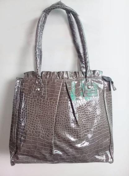 Cartera Tote Bag ,gris ,simil Reptil Charolada