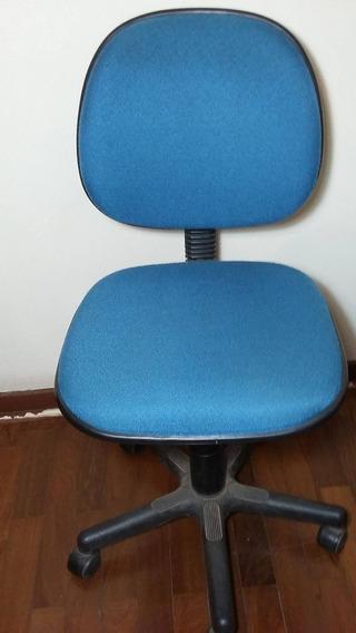 Cadeira De Escritório Azul Riccó, Encosto Fixo S/ Braço