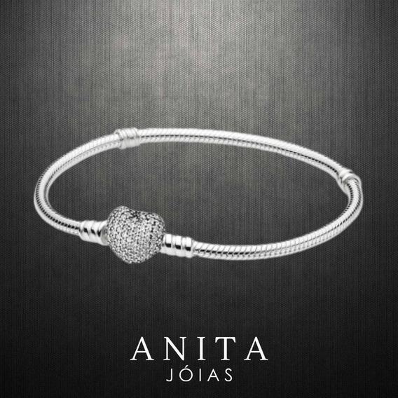 Bracelete Coração Cravejado Prata 925 Estilo Pandora