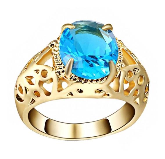 Anel Solitário Feminino Cristal Azul Piscina Dia Mulher 252