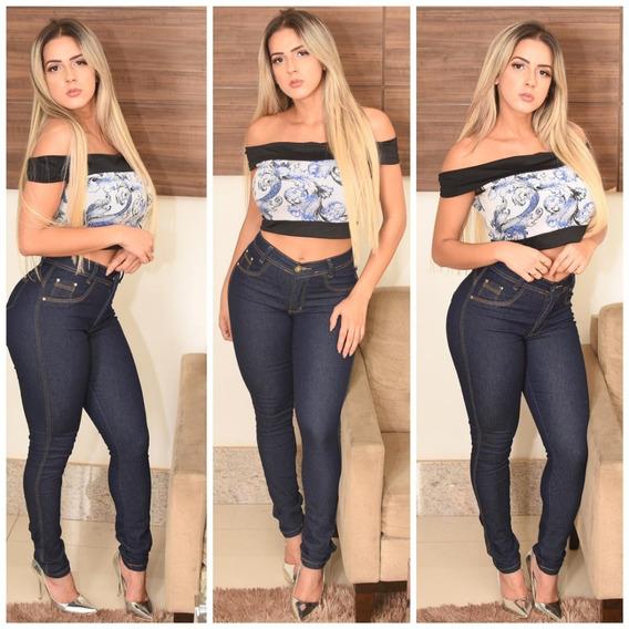 Calça Jeans Levanta Bumbum Cintura Alta Hotpants 10x S/juros