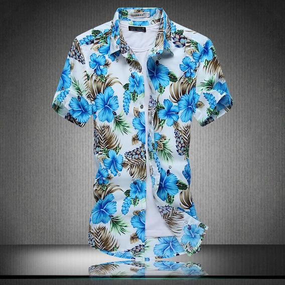 Camisa Masculina Casual Cheia Estampa Floral Manga Curta Bot