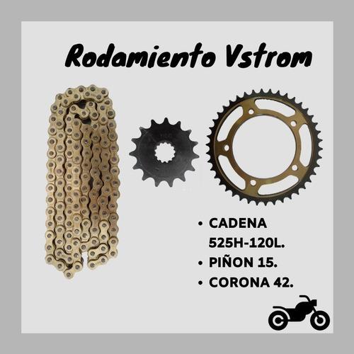 Kit Rodamiento Cadena Corona Piñon Para Vstrom 650