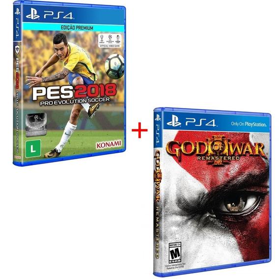 Pes 2018 Futebol + God Of War 3 Ps4 Midia Fisica Original