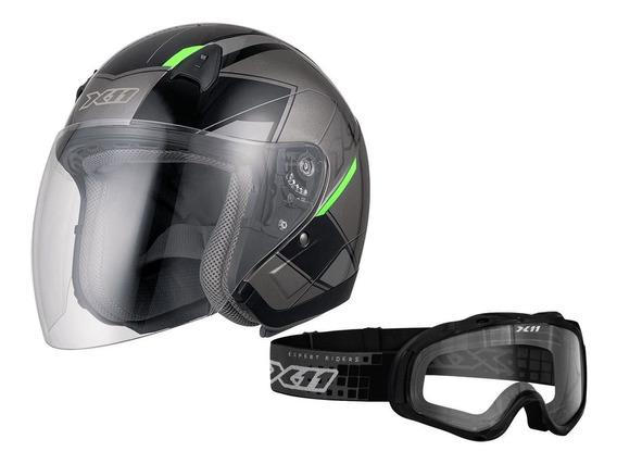 Capacete X11 Freedom Metric Motoqueiro + Óculos X11 Mx2 Moto