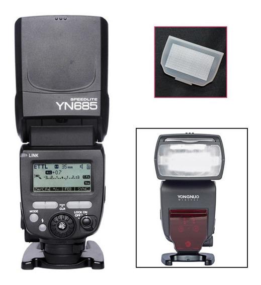 Flash Yn685 Youngnuo P/canon + Carregador Com 4 Pilhas + 4 P